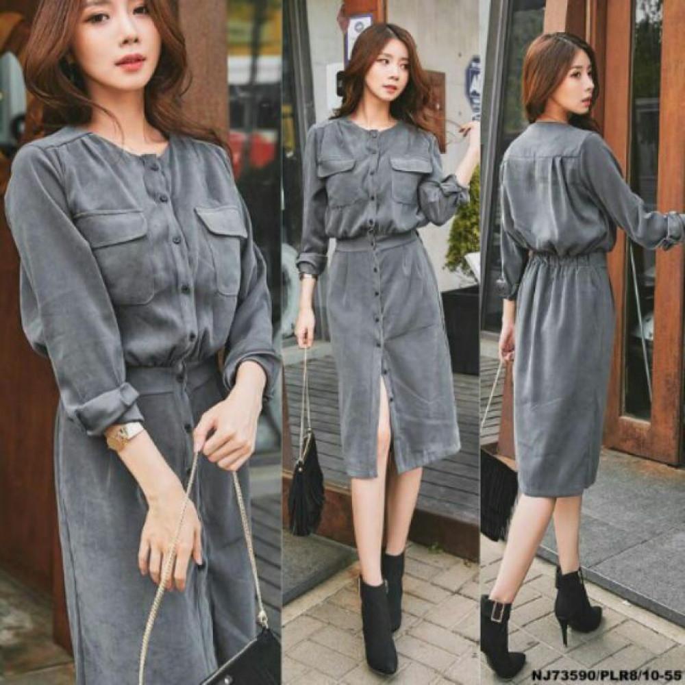 NJ EuropeFashion Elegant Greyish Dress