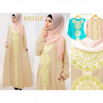 NJ Fashion Lace Design Jubah with Back Zip Shawl