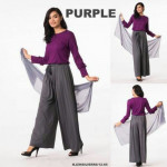 NJ Stylish Ruffles Sleeves Top + Palazo Pants + Shawl - 3 in 1
