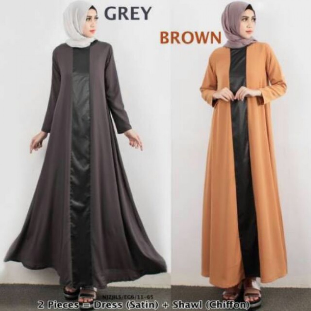 NJ Fashion Satin Joint Leather With A-Cut Jubah Dress + Shawl - 2 in 1