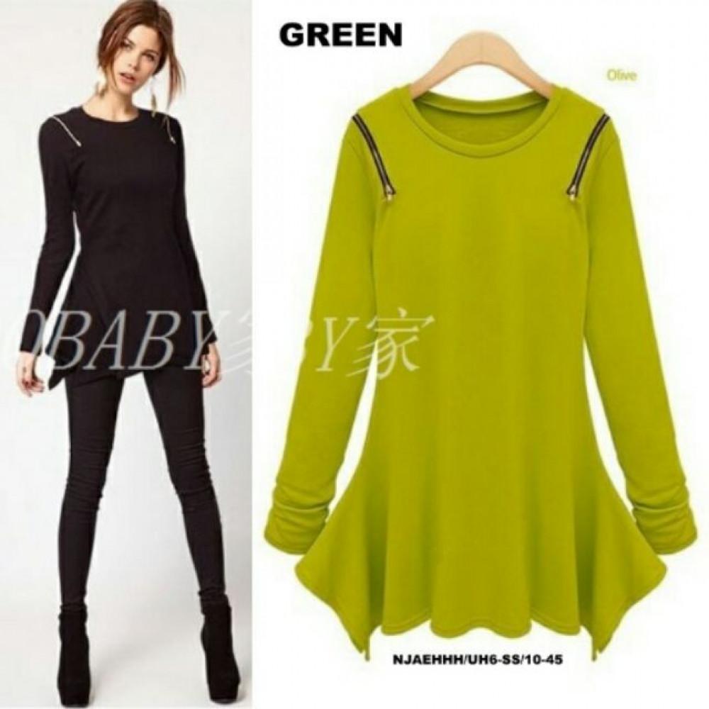 NJ EuropeFashion Zip Shoulder Asymmetric Dress