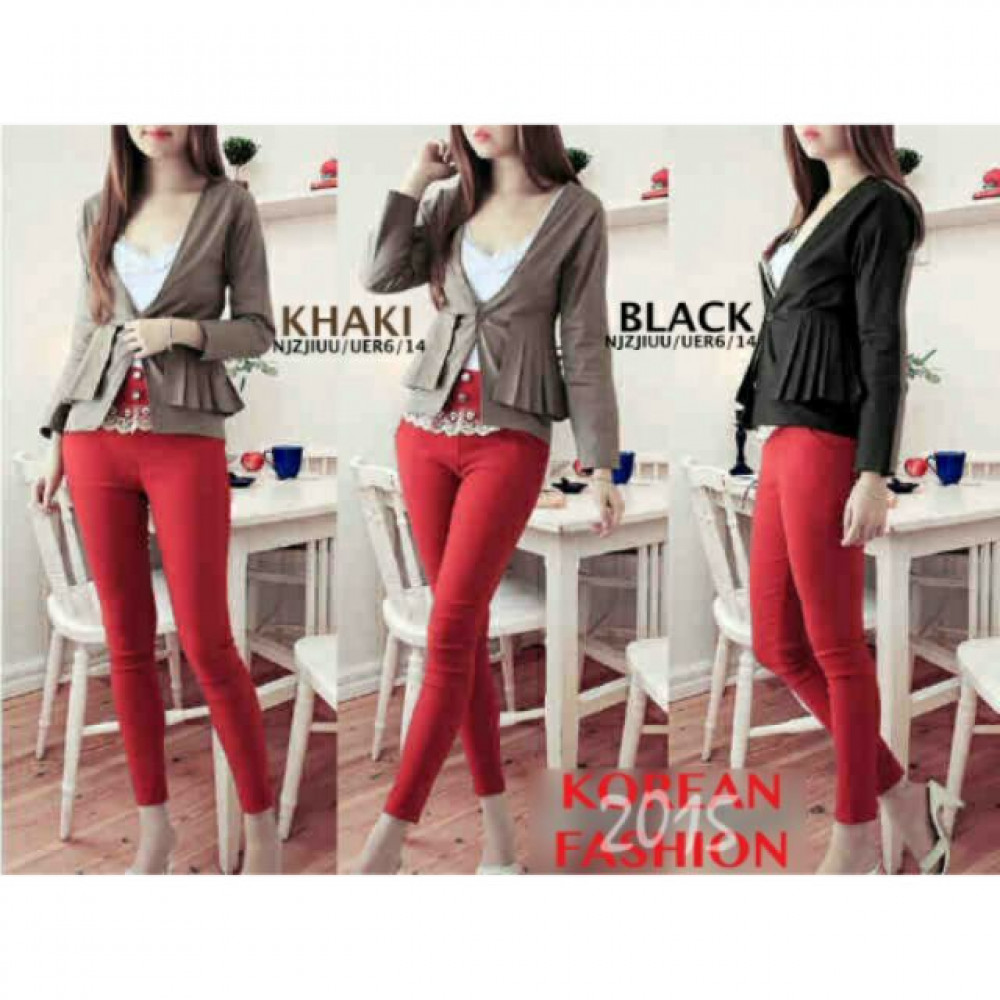 NJ Fashion Stylish One Button Pleats Women Blazer