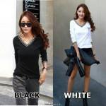 NJ Fashion Stylish V-Neck Long Sleeve Top