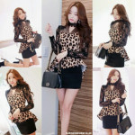 NJ LeopardFashion High Low Lace Sleeve Peplum Top