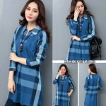 NJ E.JOY_Fashion Stylish Checker Design Long OL Top
