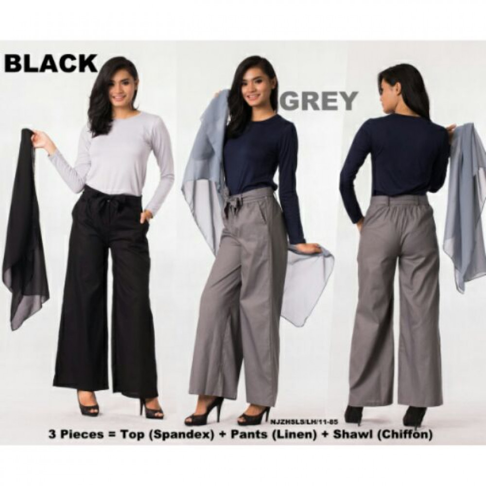 NJ Stretchable Top + Flared Wide Leg Pants + Shawl - 3 in 1