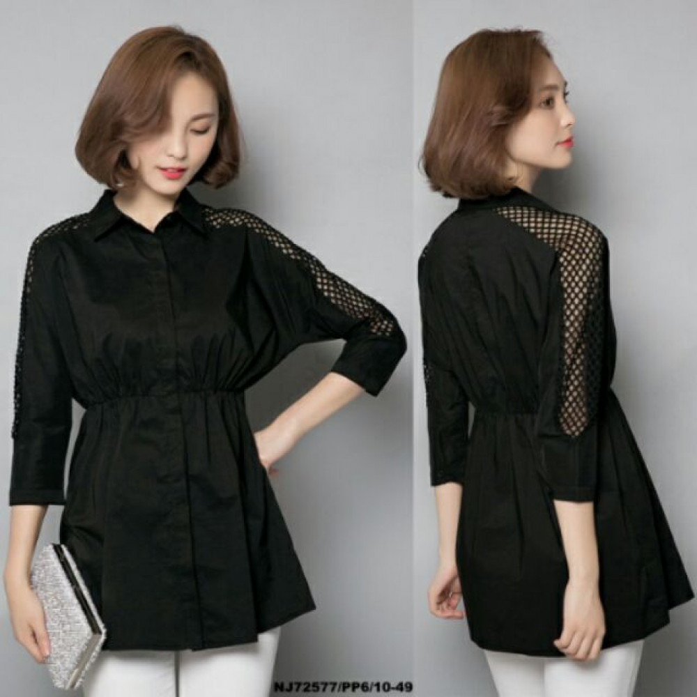 NJ EuropeFashion Trendy Top Black