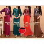 NJ Seoul Elegant Stripe Top Joint Pleated Dress -2 in 1