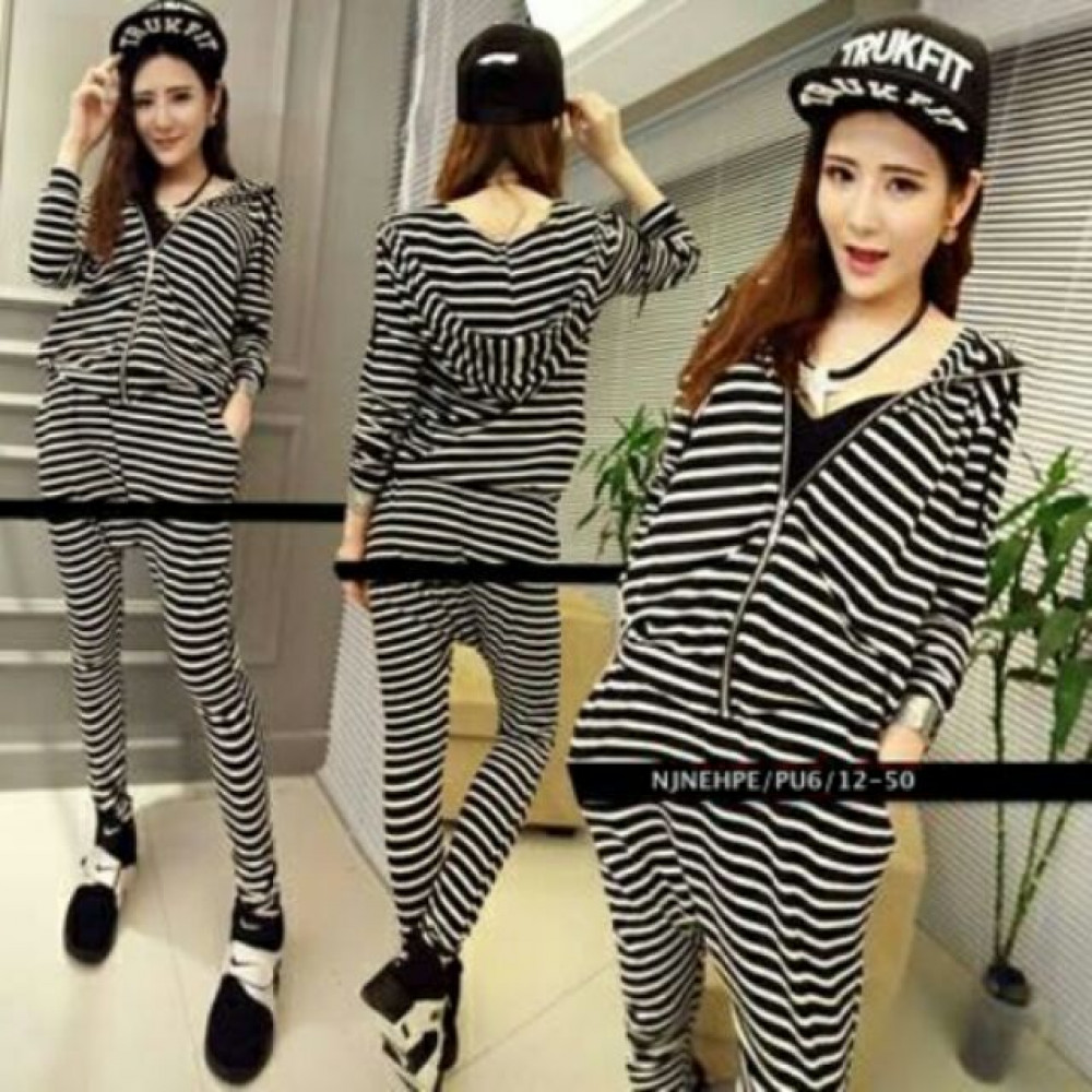 NJ Stylish Stripe Fashion Top and Pants (1 Set)