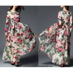 NJ Flower Printed Beautiful Dress with Waist String