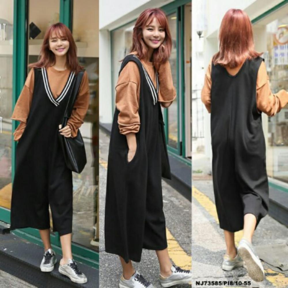 NJ Fashion Stylish Jumpsuit with Back Zip - Black