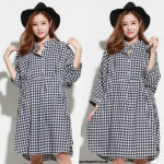 Korea NJ Fashion Checker Blouse Black