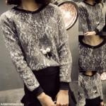 NJ Fashion Lace Design Women Sweater Top