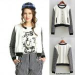 NJ Plaid Design Sleeve Women Varsity Jacket