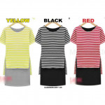 NJ Fashion Stripes Top with Inner Dress (2 Pcs)
