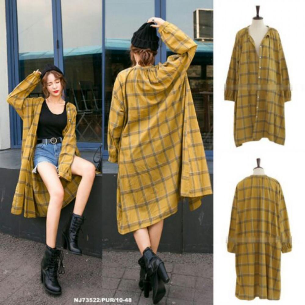 NJ EuropeFashion Checker Stylish Long Jacket Brown