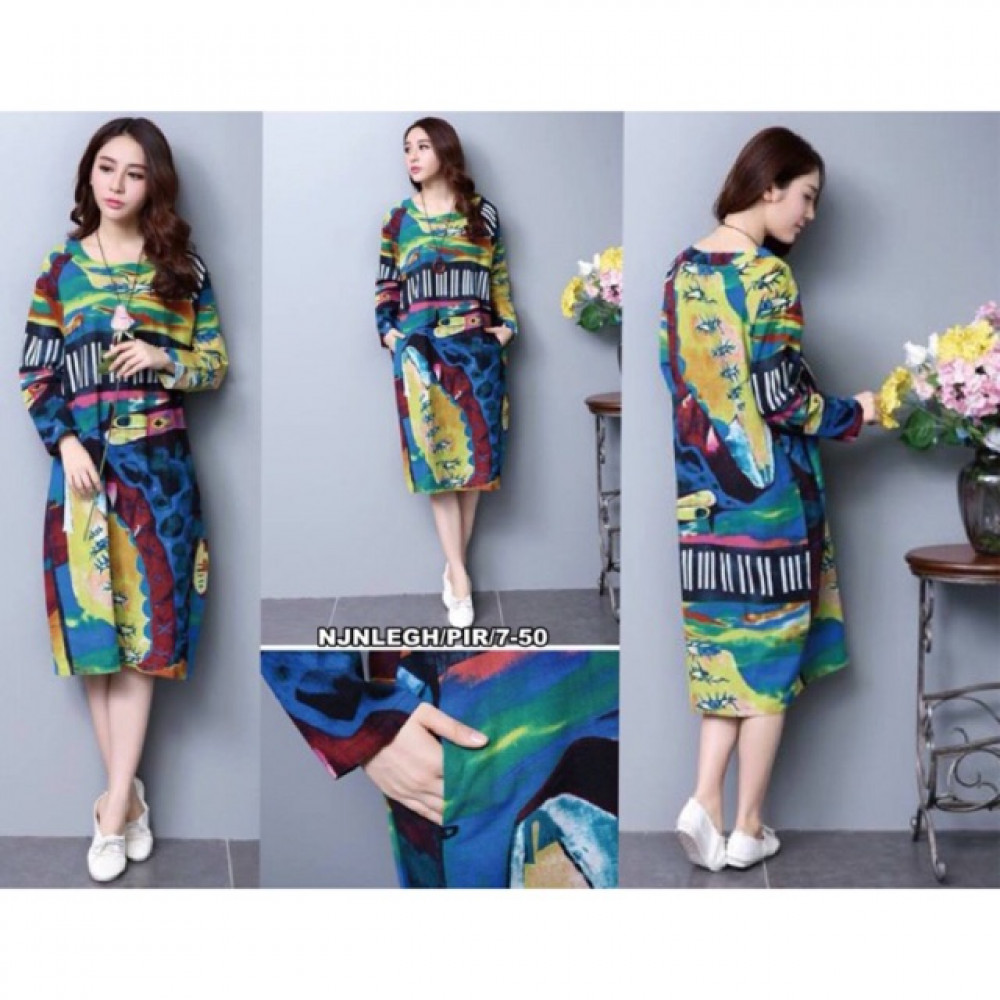 NJ Abstract Colourful Printed Dress