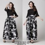 NJ Stylish Printed Pleated Maxi Skirt - Design 4
