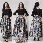 NJ Stylish Printed Pleated Maxi Skirt - Design 3