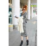 NJ Stripes Design Hooded Midi Dress