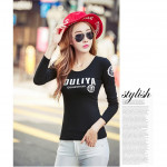 NJ Fashion Trendy LongSleeves Top - Black