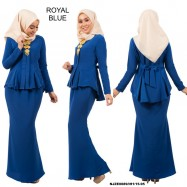 image of NJ Exclusive Tradisional Fishtail Kebaya with A-cut duyung skirt - ROYAL BLUE
