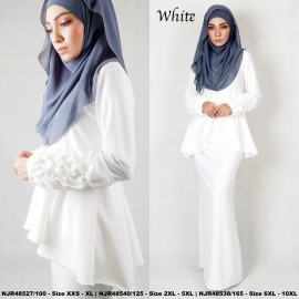 image of NJBoutique.RTW Exclusive Baju Kurung Collections (Ready-To-Wear) WHITE