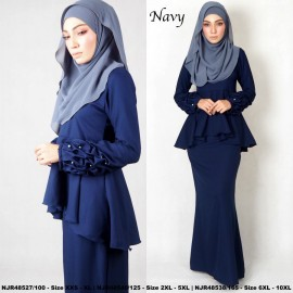 image of NJBoutique.RTW Exclusive Baju Kurung Collections (Ready-To-Wear) NAVY