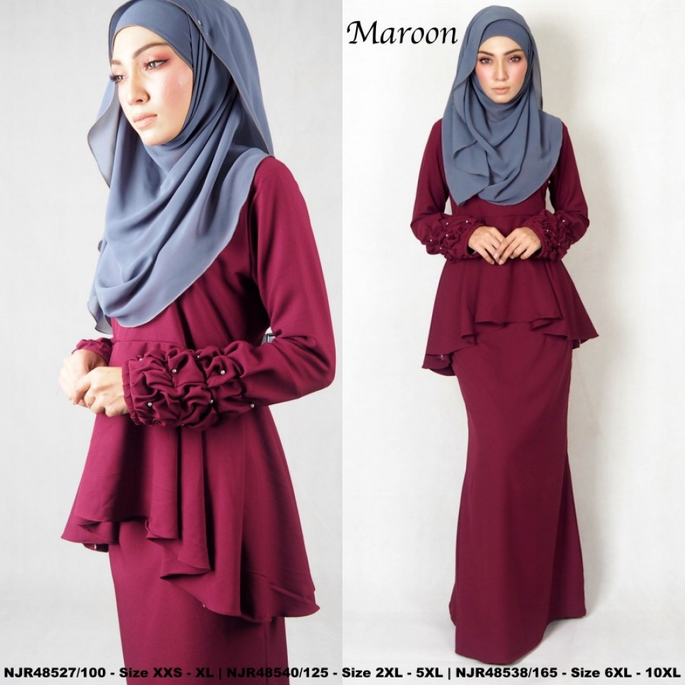 NJBoutique.RTW Exclusive Baju Kurung Collections (Ready-To-Wear) MAROON
