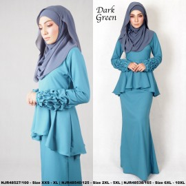 image of NJBoutique.RTW Exclusive Baju Kurung Collections (Ready-To-Wear) DARK GREEN