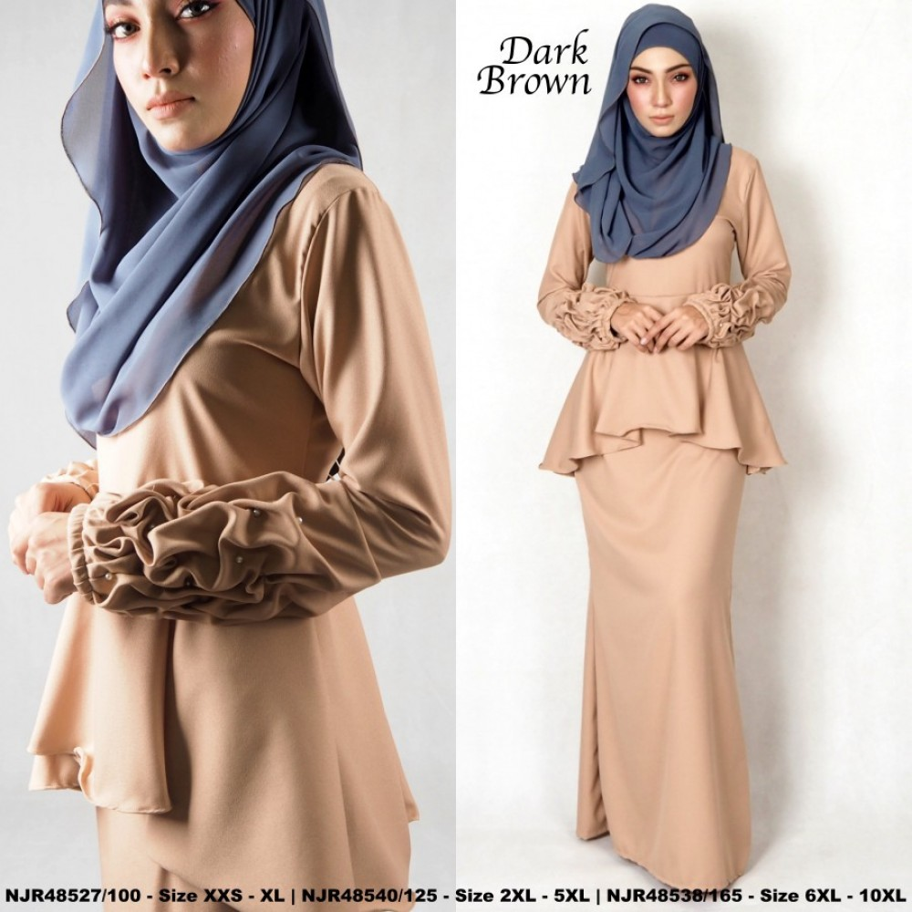 NJBoutique.RTW Exclusive Baju Kurung Collections (Ready-To-Wear) DARK BROWN