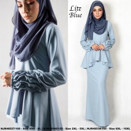 image of NJBoutique.RTW Exclusive Baju Kurung Collections (Ready-To-Wear) LITE BLUE