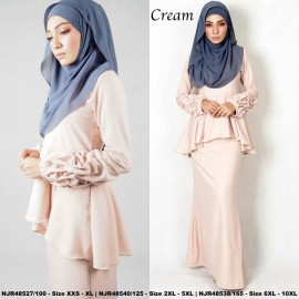 image of NJBoutique.RTW Exclusive Baju Kurung Collections (Ready-To-Wear) CREAM