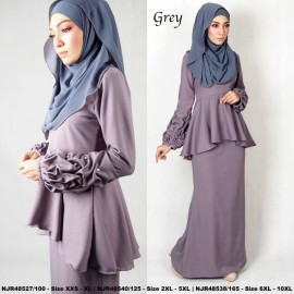 image of NJBoutique.RTW Exclusive Baju Kurung Collections (Ready-To-Wear) GREY
