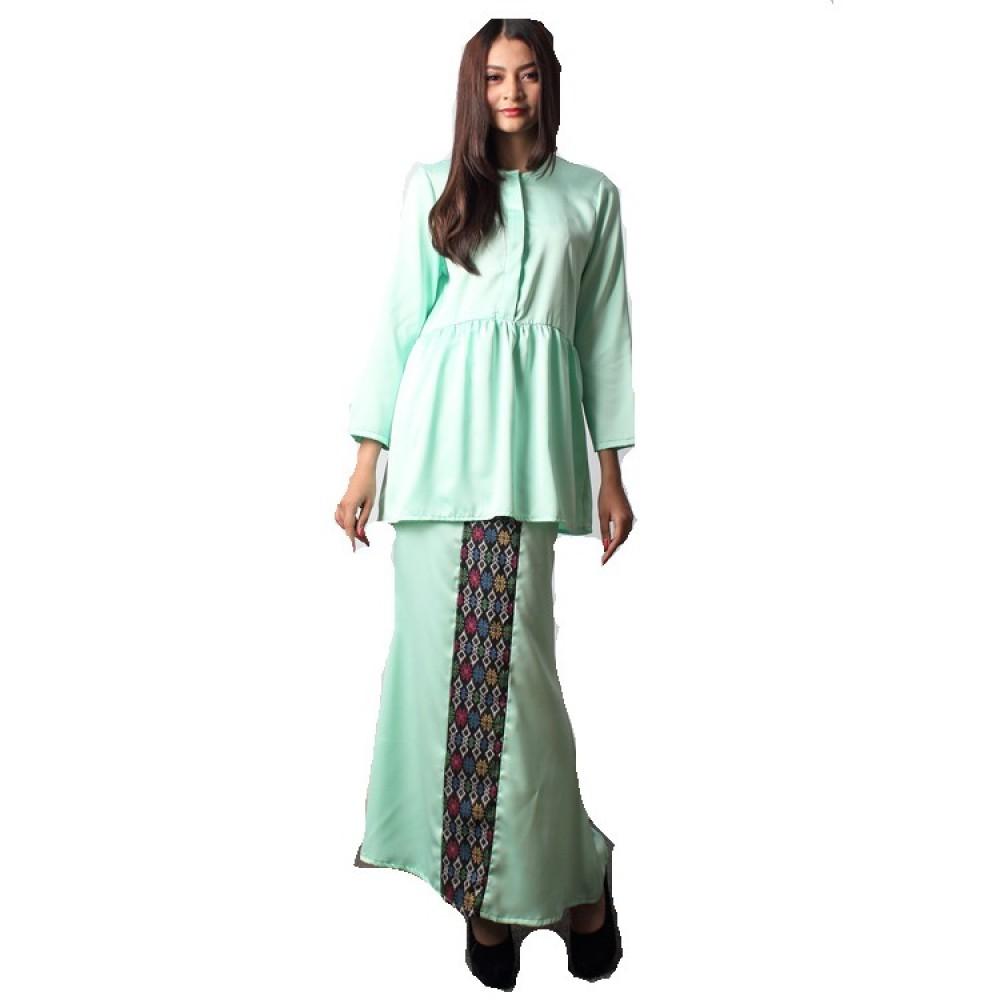 NJ Fashion Elegant FrontButton Peplum Top With Songket Printed Long Skirt