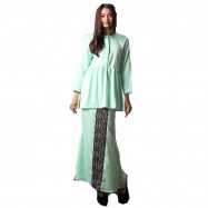 image of NJ Fashion Elegant FrontButton Peplum Top With Songket Printed Long Skirt