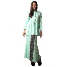 image of NJ Fashion Elegant FrontButton Peplum Top With Songket Printed Long Skirt