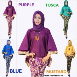 image of READY STOCK❗ NJ Batwing Kurung with Batek motif in gold print and pleated Skirt