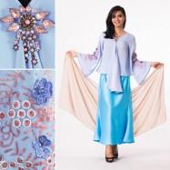 image of NJ 4 IN 1 Elegant Pendant Loose Kebaya Blouse With + Long Skirt (Inc Shawl)