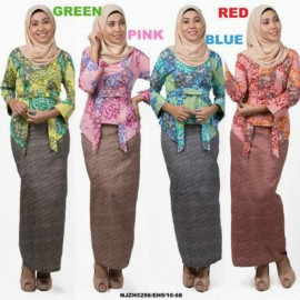 image of READY STOCK❗ NJ Fashion Modern Kebaya Abstract Printed with Ribbon Belt