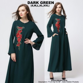 image of NJ ModernCollections Flora Patch Jubah - GREEN