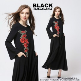 image of NJ ModernCollections Flora Patch Jubah - BLACK