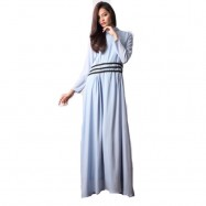 image of NJ High Neck With Pleated Design Jubah Dress with BackZip J793