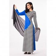 image of NJ 2 Tones Stripes Design Modern Jubah Dress FREE SHAWL