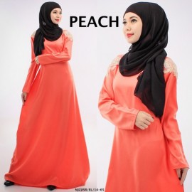 image of NJ SEOUL 2 IN 1 Lace Design Shoulder Jubah Dress with Back Zip (Include Shawl)