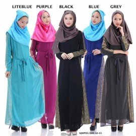 image of READY STOCK❗ NJ Fashion A-Shape Stylish Jubah Dress with Attach Ribbon