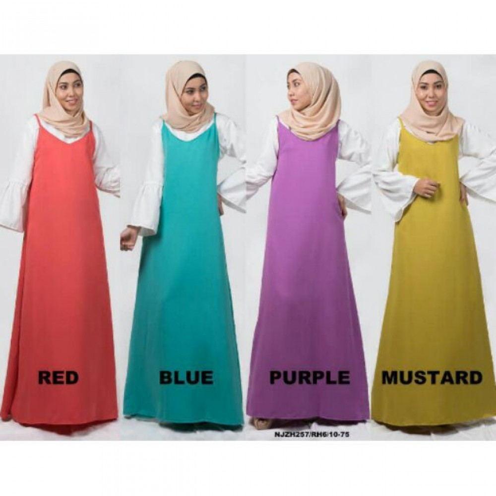 READY STOCK❗ NJ Fashion Long Slip A-Cut Dress with Bell Sleeve Inner Blouse