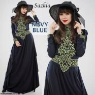 image of READY STOCK❗ NJ HighQuality Turtle Neck Retro Lace Crocket Jubah Dress