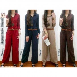 image of NJ Fashion Stylish Front Button Collared Jumpsuit with BELT (Maroon)