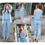 image of NJ Fashion Soft Denim Trendy Jumpsuit